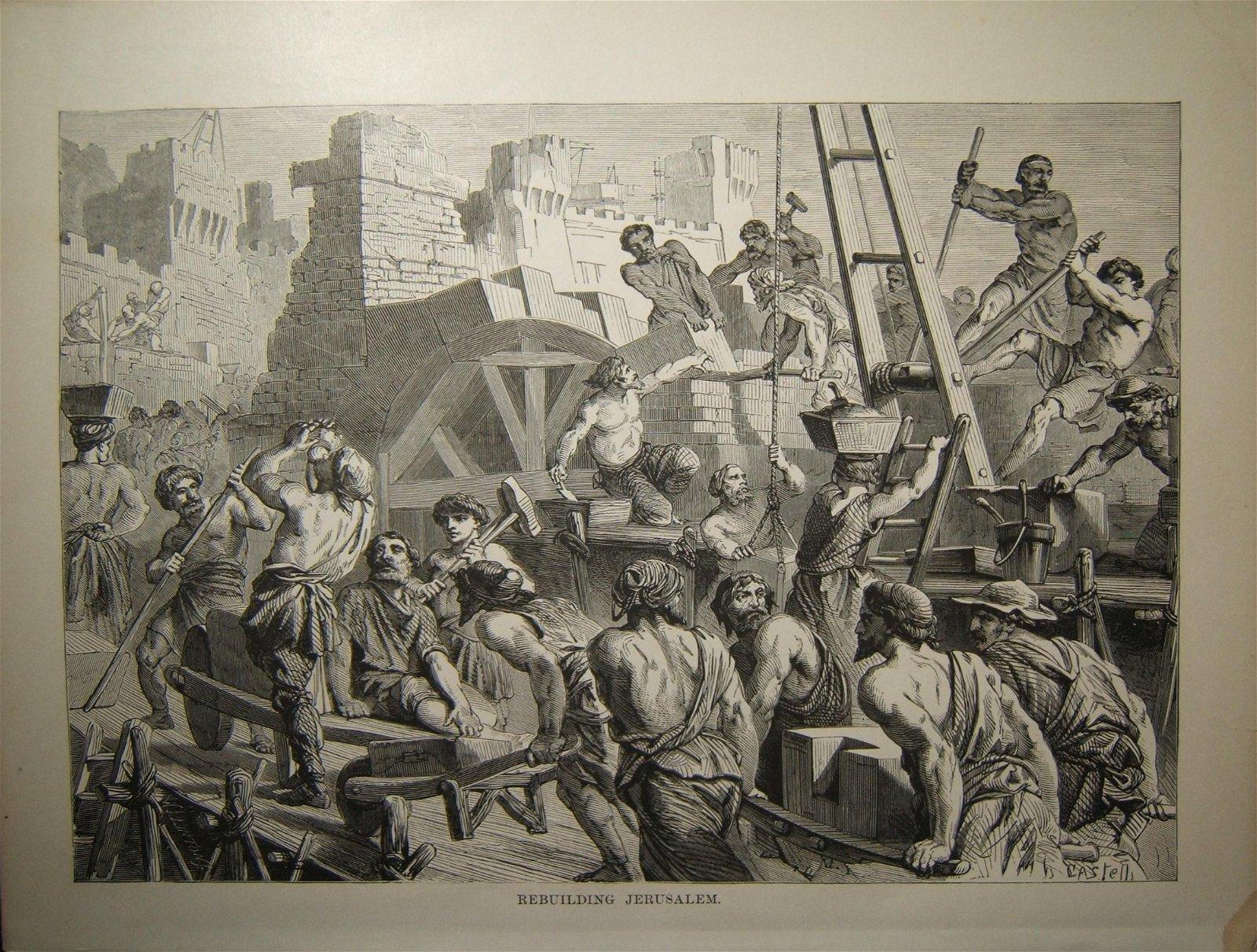Biblical print Rebuilding Jerusalem, c.19th Century