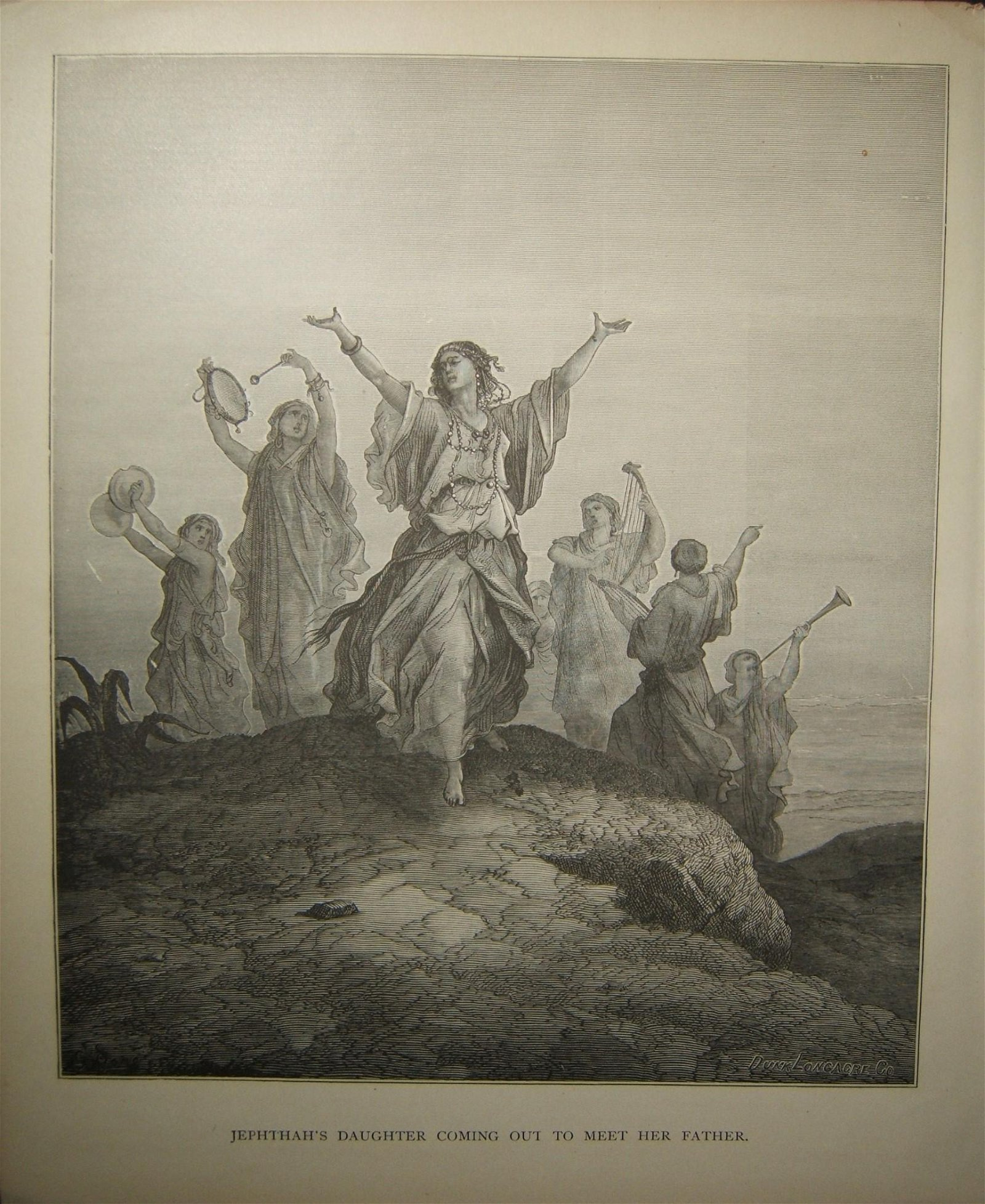 Biblical print Jepthah's Daughter Coming out to Meet