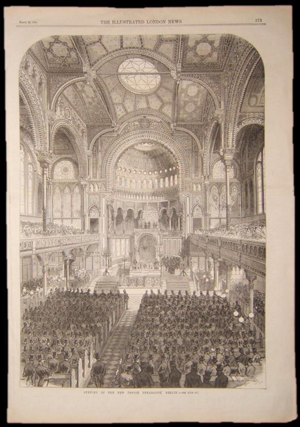 British Judaica print of new Synagogue in Berlin, 1866;