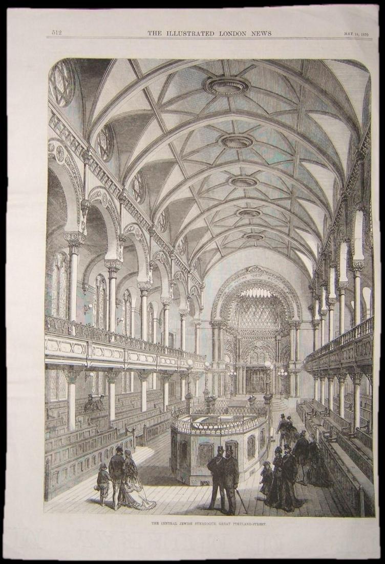 British Judaica print of Synagogue of Great Portland