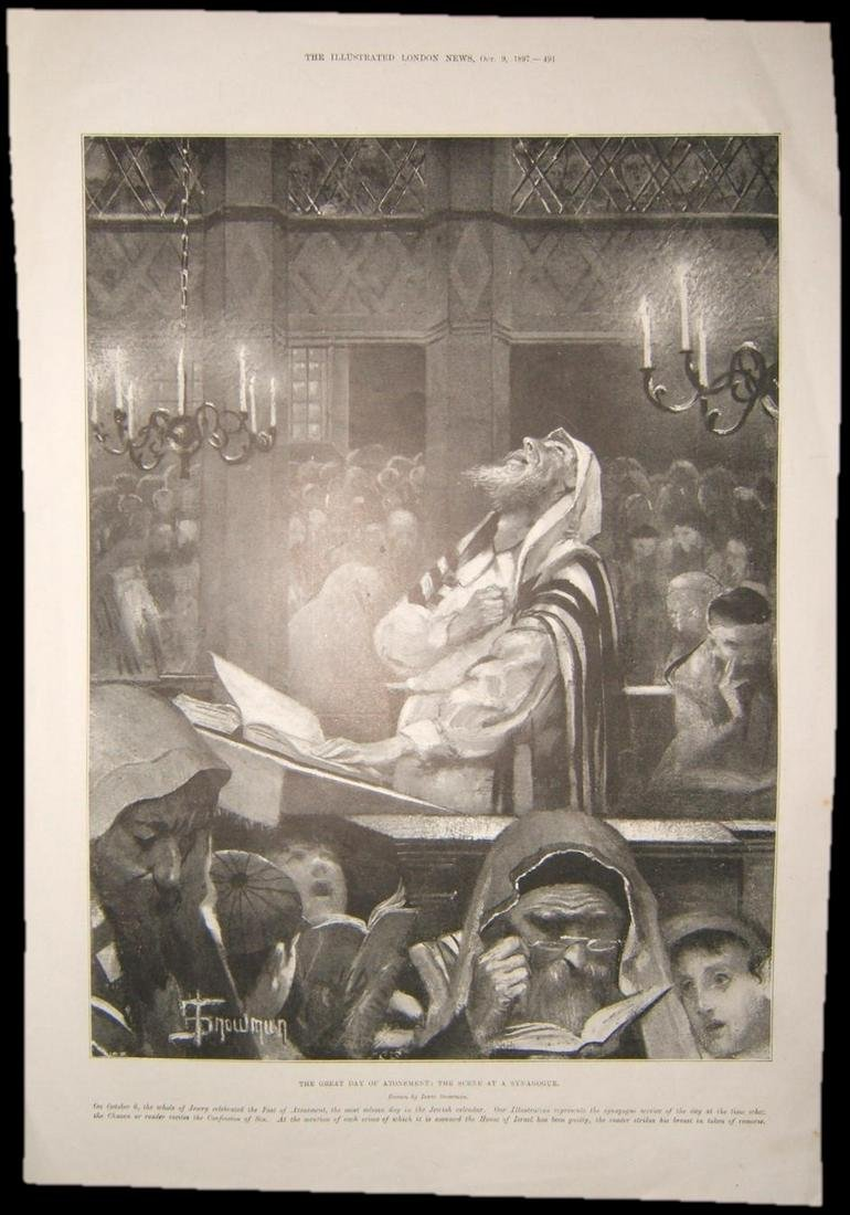 British Judaica print of Day of Atonement at a