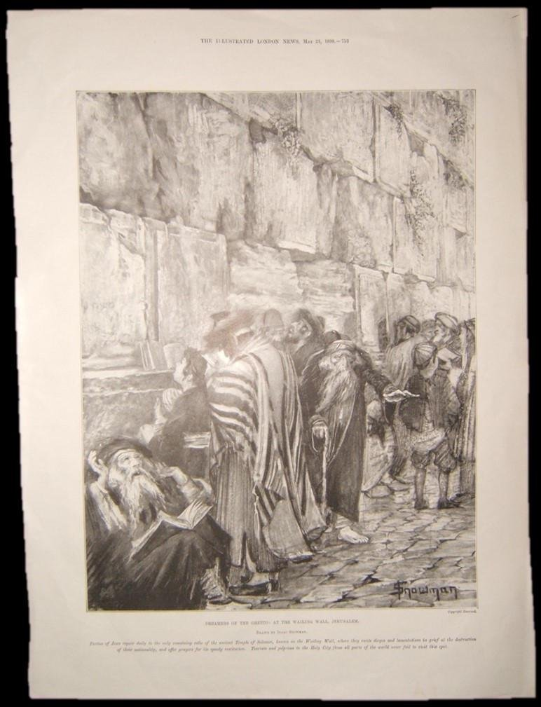 British Judaica print of Jews in Lament at the Western