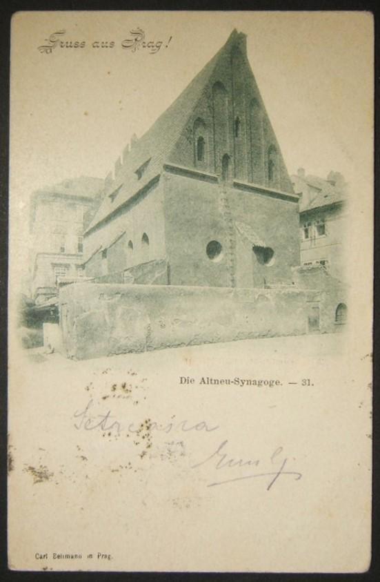 Czechoslovakian Judaica picture postcard of Prague