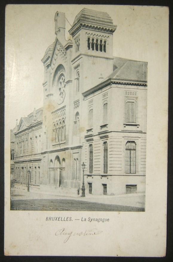 Belgian Judaica picture postcard of Brussels Great