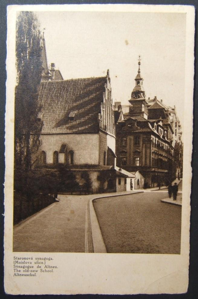 Czechoslovakian Judaica picture postcard of Prague Alt