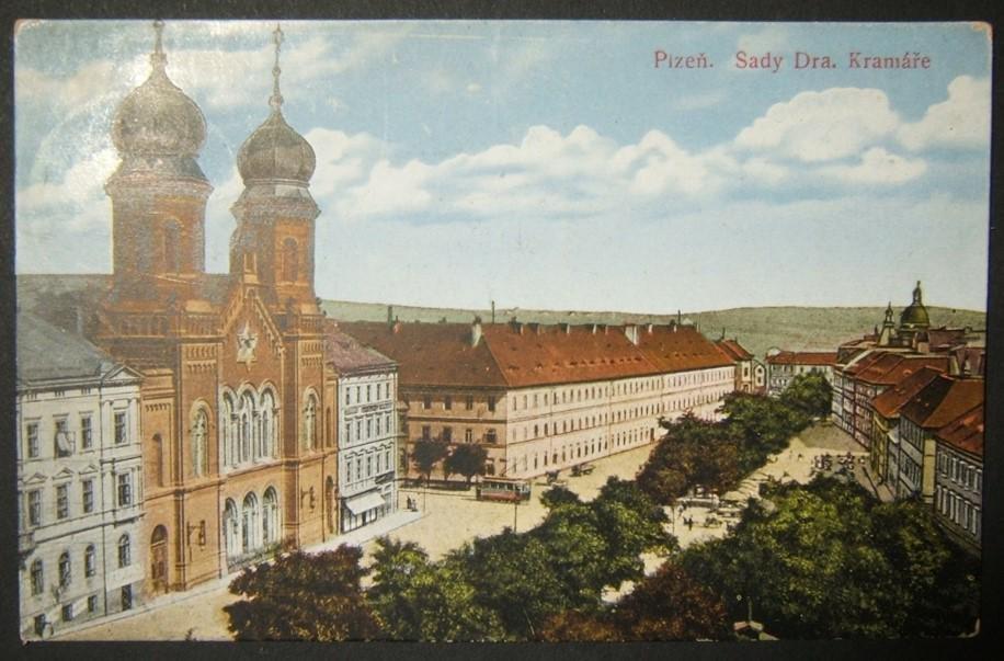 Czechoslovakian Judaica picture postcard of Plzen Great