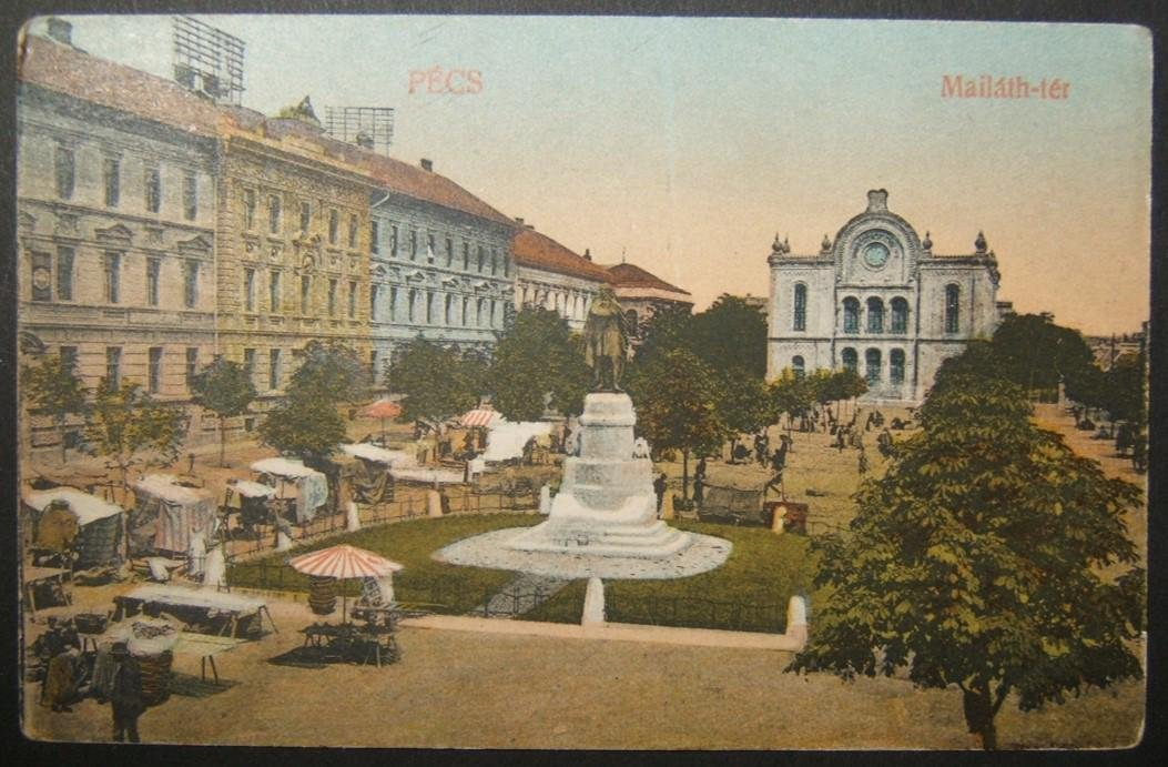 Hungarian Judaica picture postcard of Pecs Neolog
