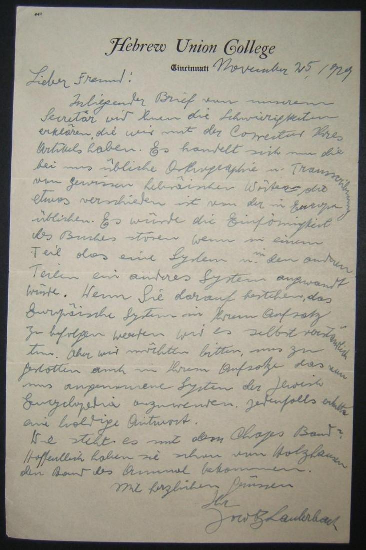 Rabbi Prof Jacob Lauterbach original German handwritten