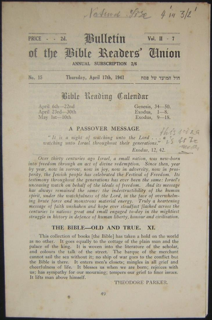 Holocaust era Orthodox Jewish Bulletin of Bible Readers