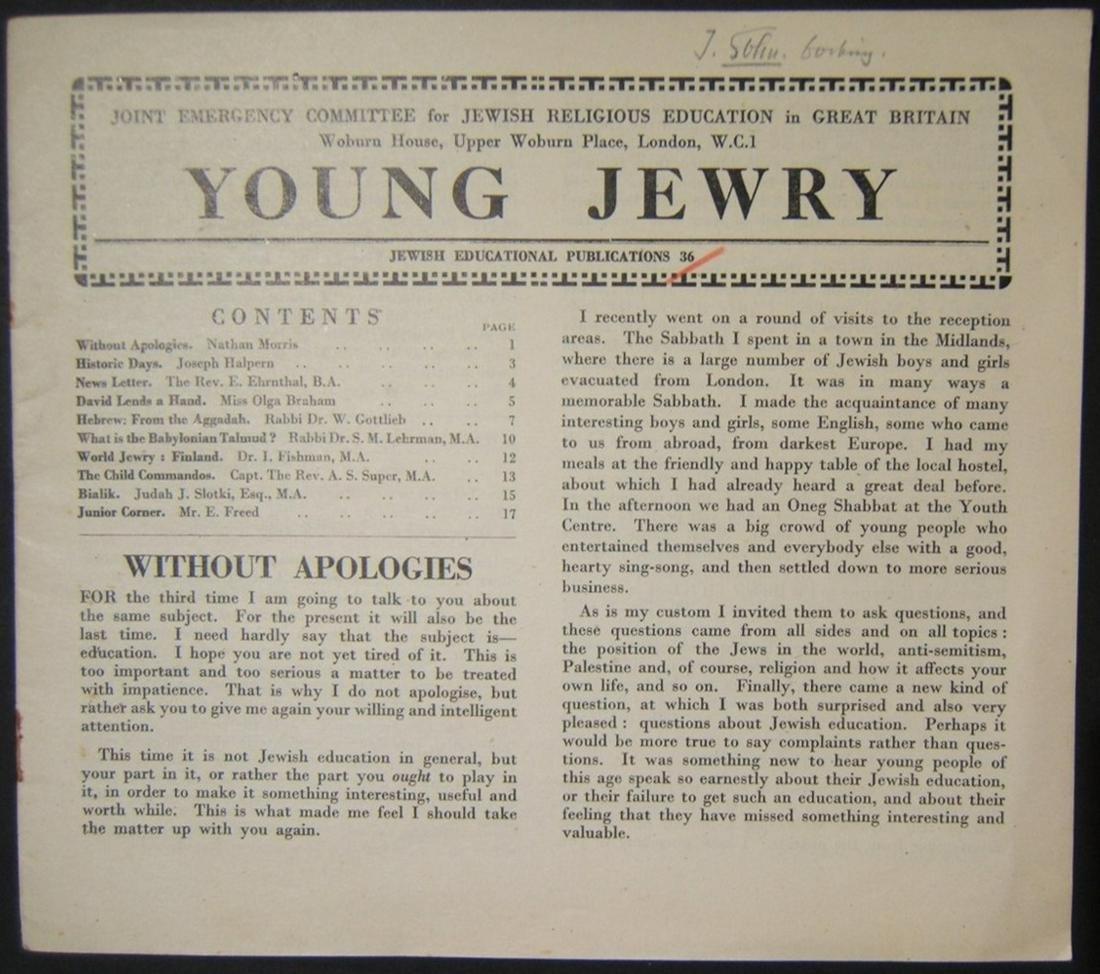 British Holocaust era Orthodox Jewish Young Jewry