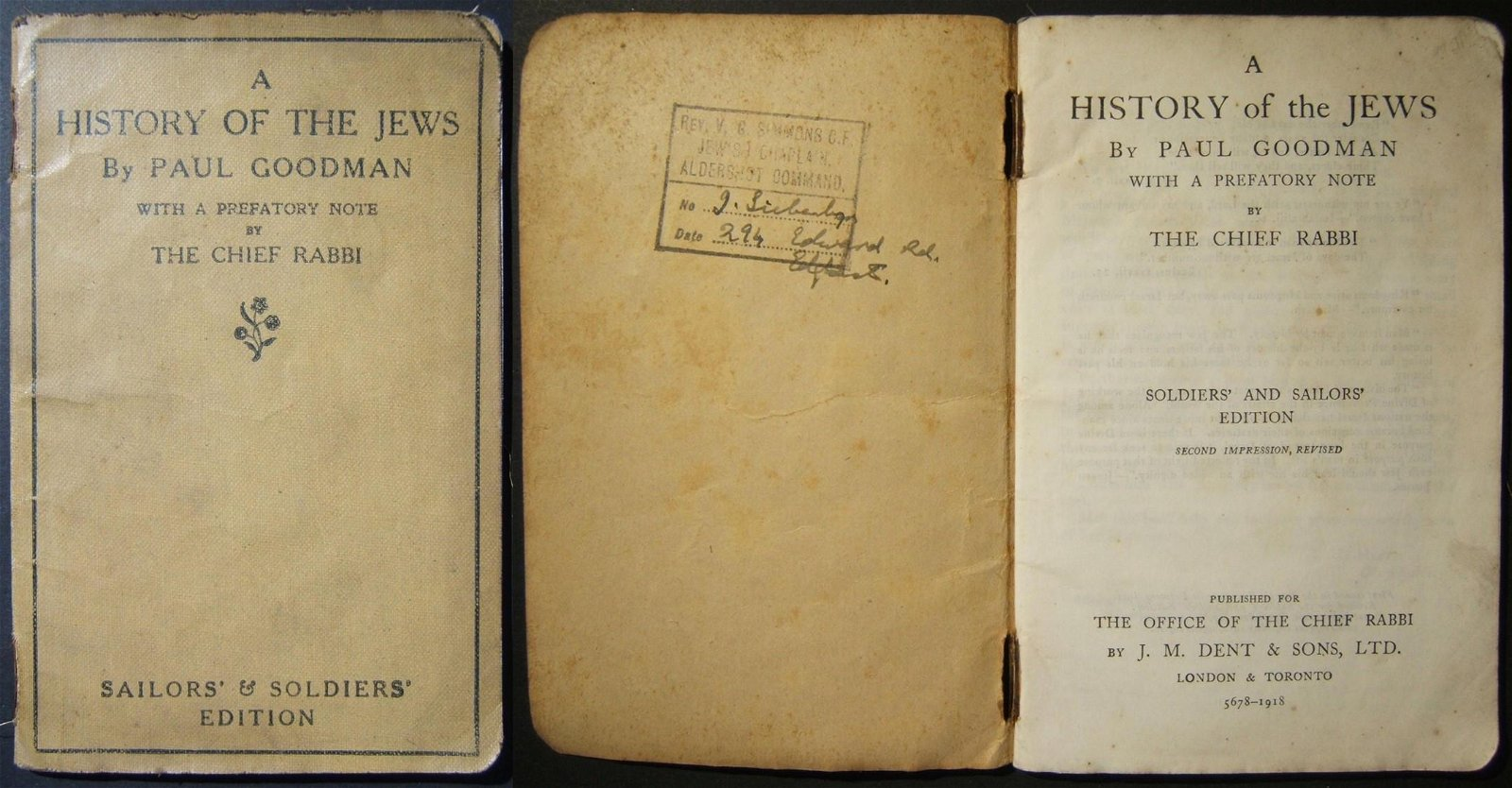 WWI Jewish history book by Paul Goodman for British