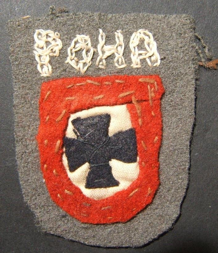 Handmade military patch of WWII collaborationist RONA