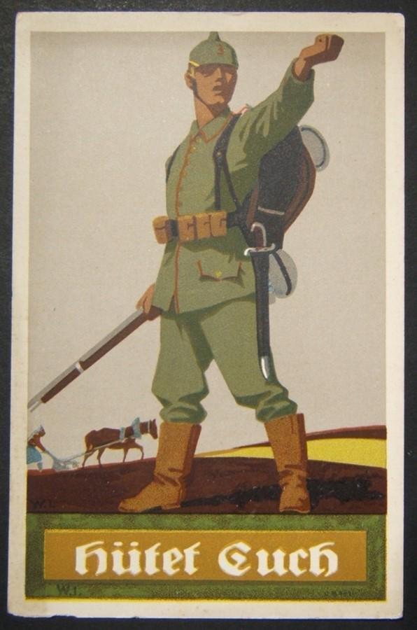 German WWI illustrated color propaganda Beware postcard