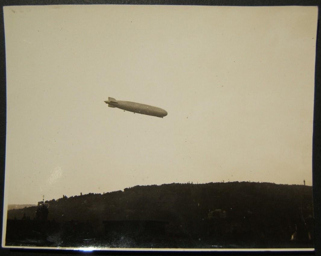 German photograph of Graf Zeppelin LZ127 over hilly