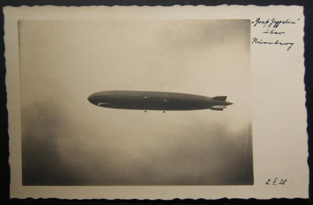 German photo postcard of Graf Zeppelin 1st flight over