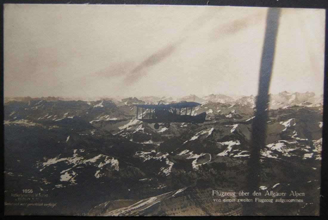 German unused early aviation photo postcard of biplane