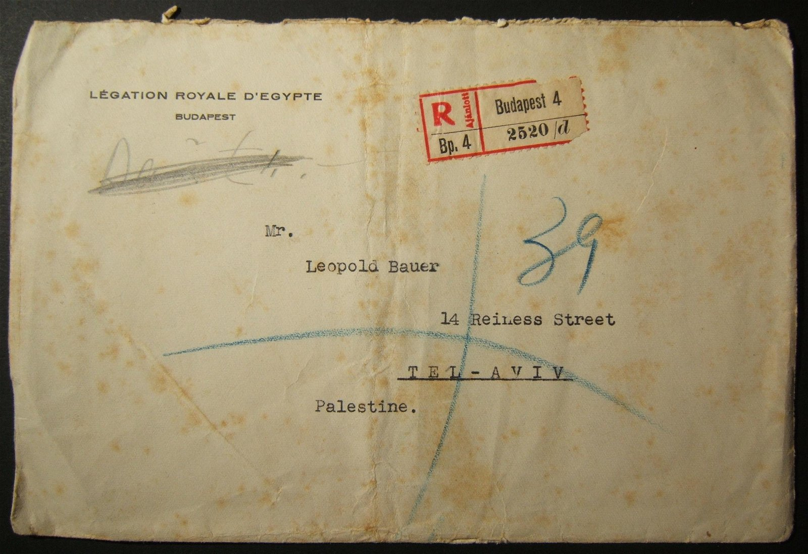 8/1939 Jewish refugee mail ex Egyptian Legation