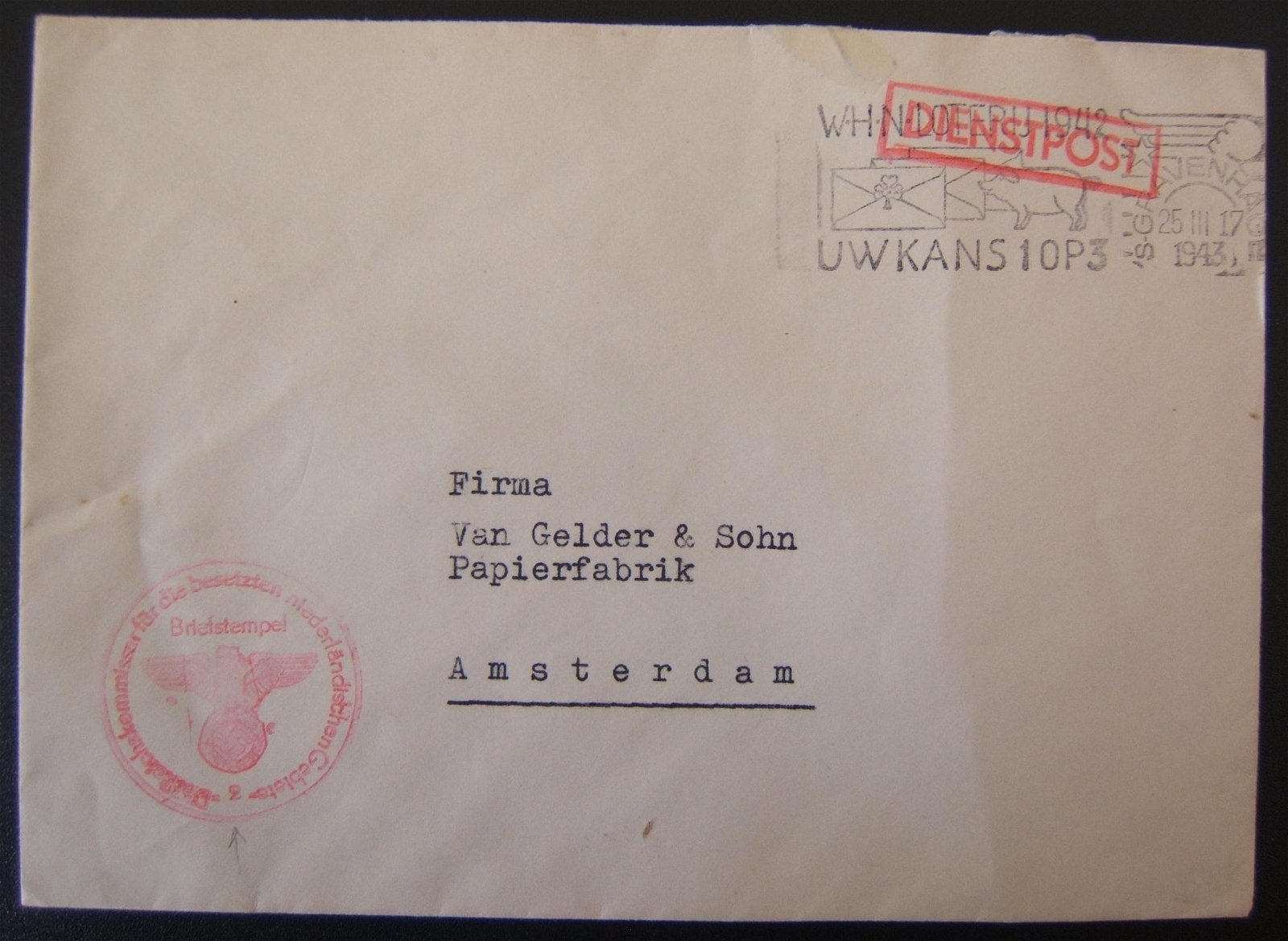 WWII used postal stationary of Netherlands