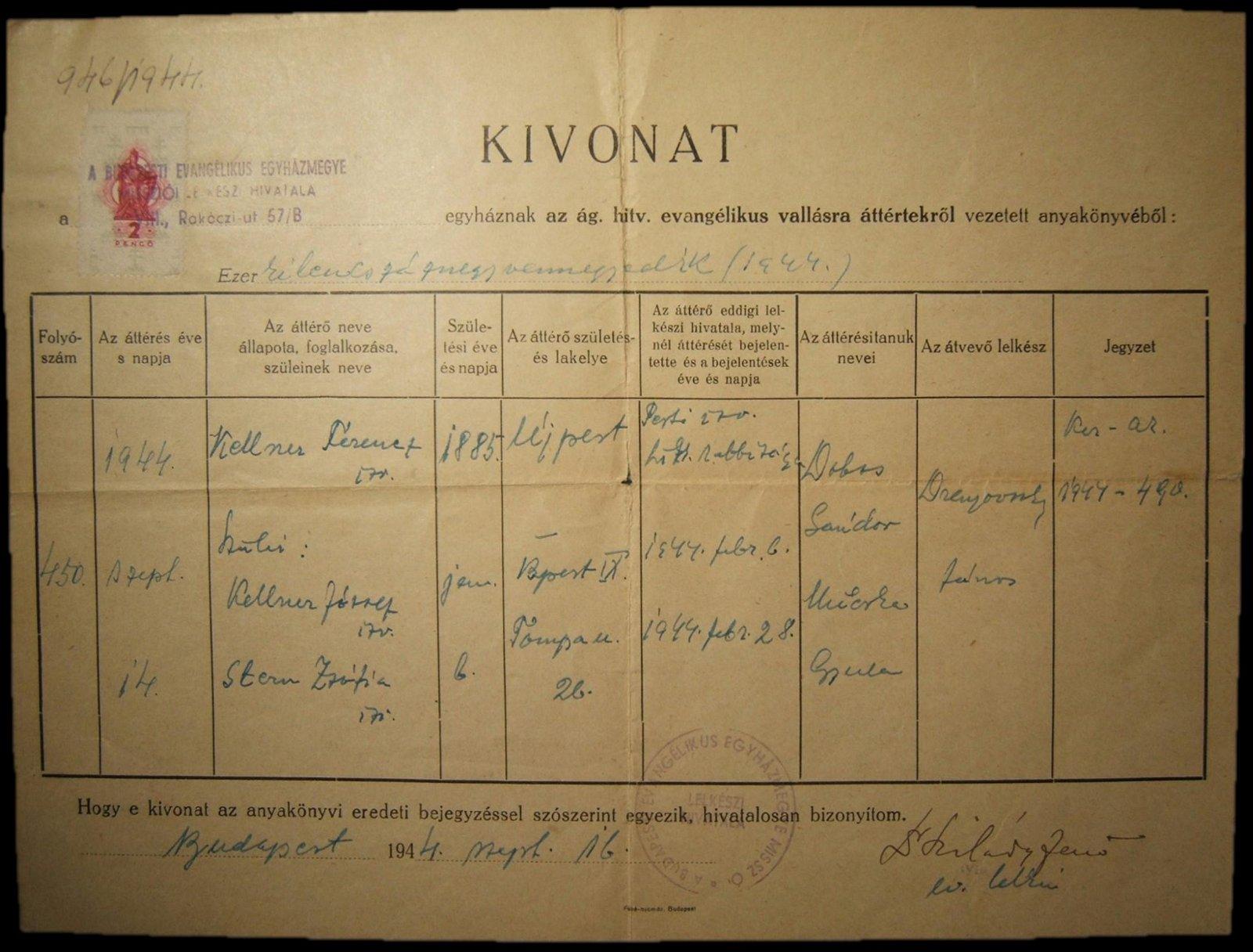 Holocaust-era Hungarian conversion document of Budpest