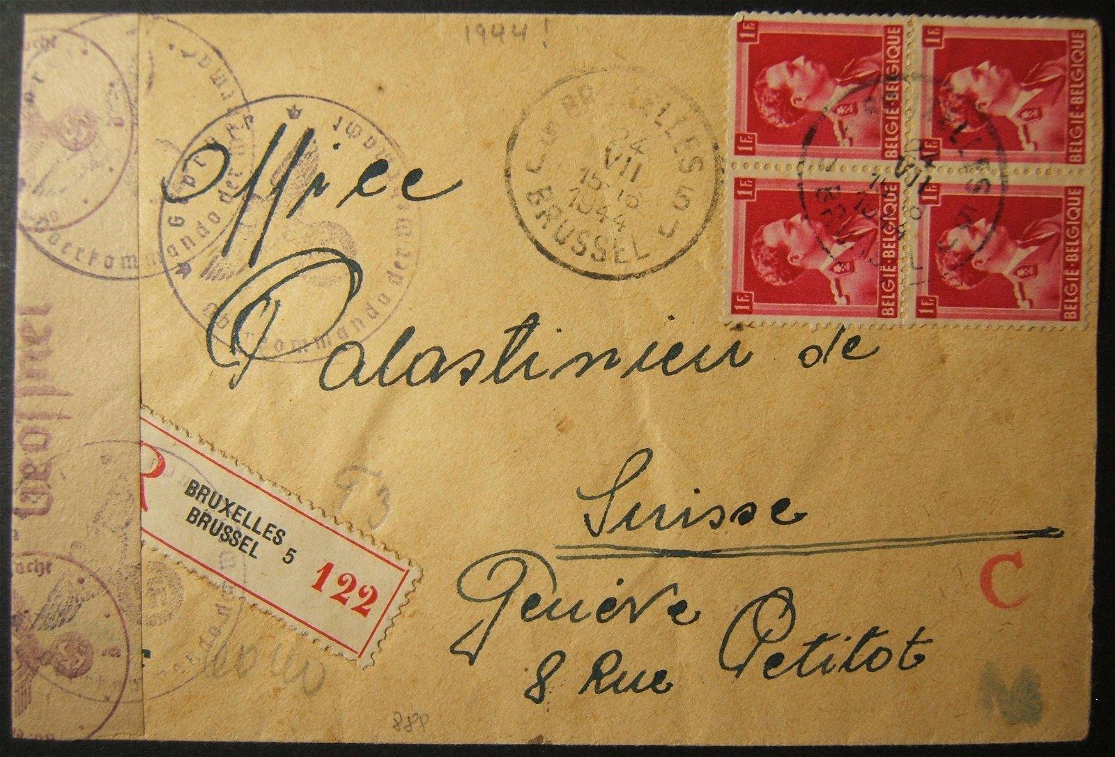 7/1944 Holocaust era Belgian AJB Judenrat mail BRUSSELS