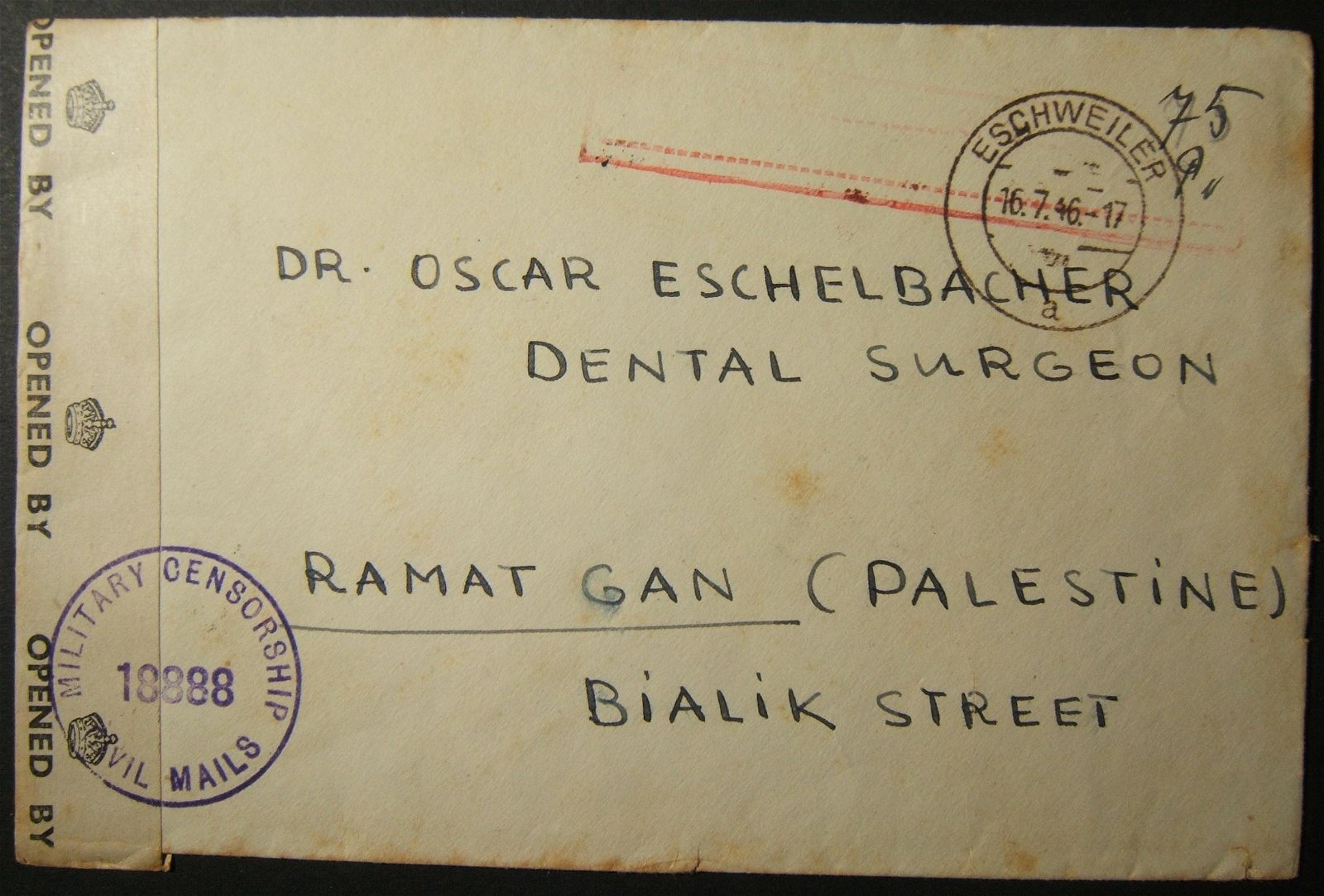 1946 Post-WWII/Holocaust Jewish cv ESCHWEILER - RAMAT