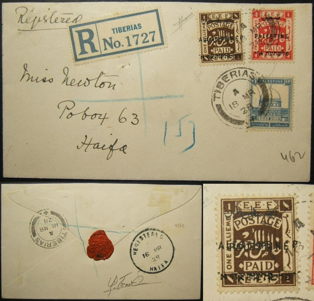 Palestine Mandate 1928 mixed franking mail including