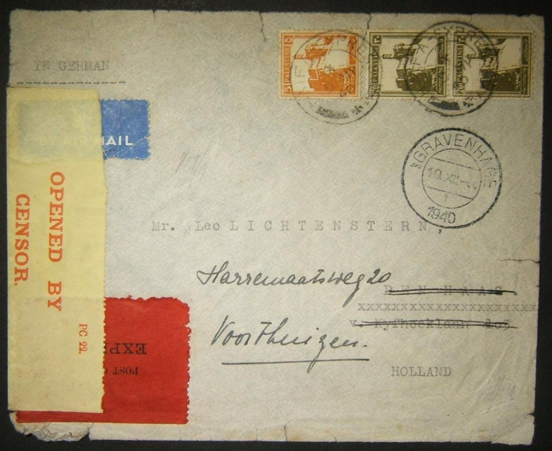 5/1940 WWII express airmail ex HAIFA delayed by fall