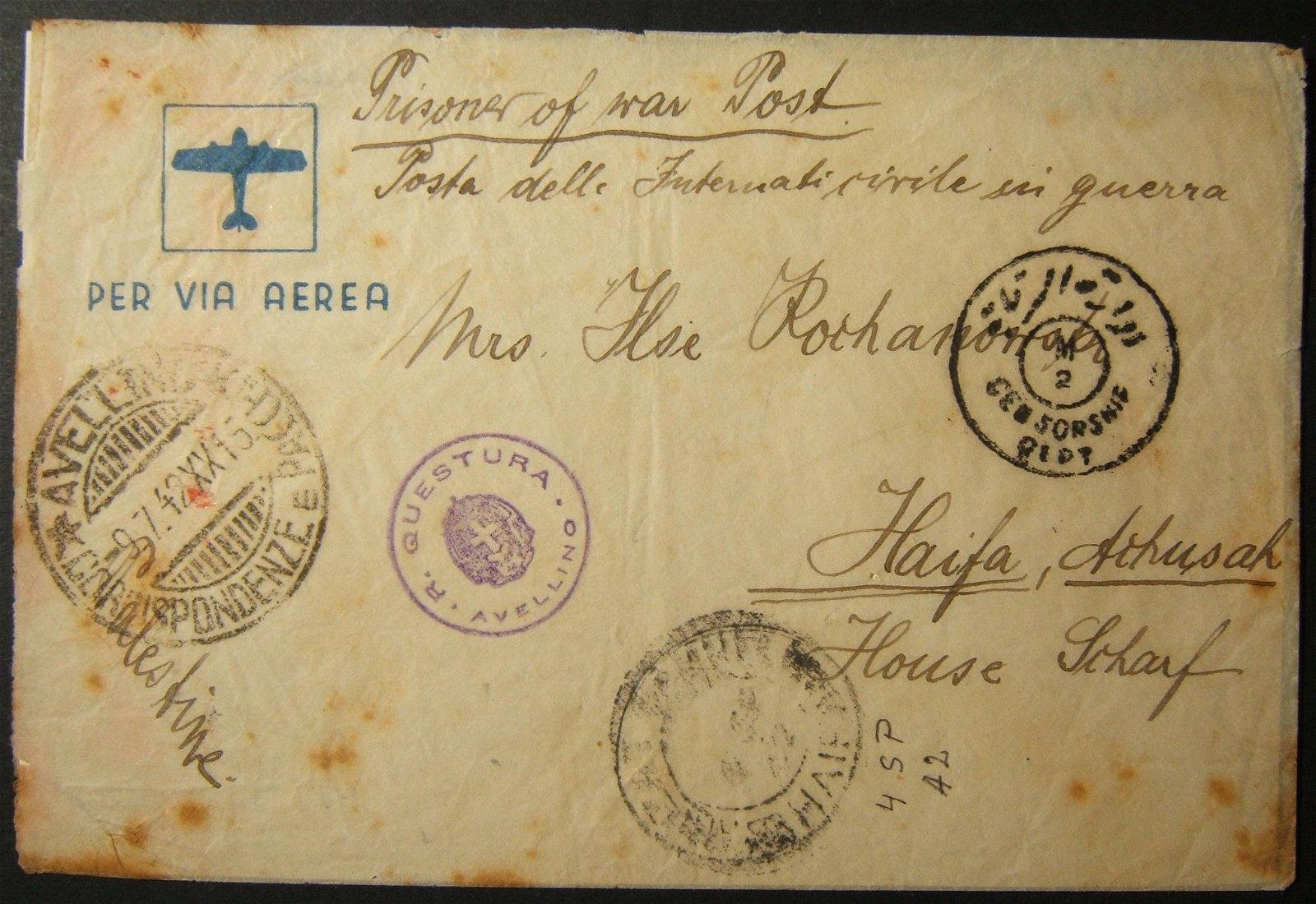 1942 WWII/Holocaust multi-censored Jewish internee cv