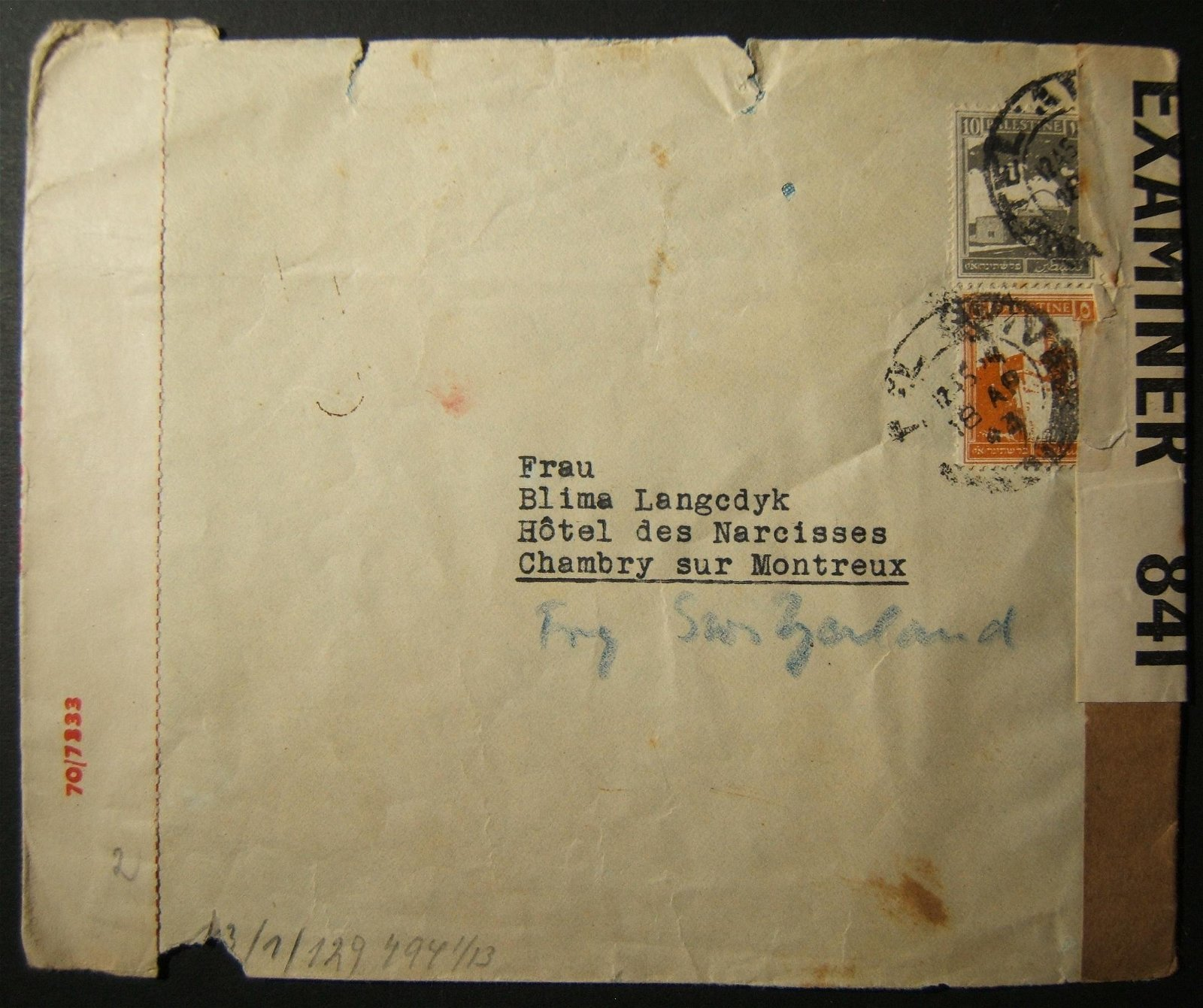 4/1943 WWII triple-censored mail from TEL AVIV to Swiss