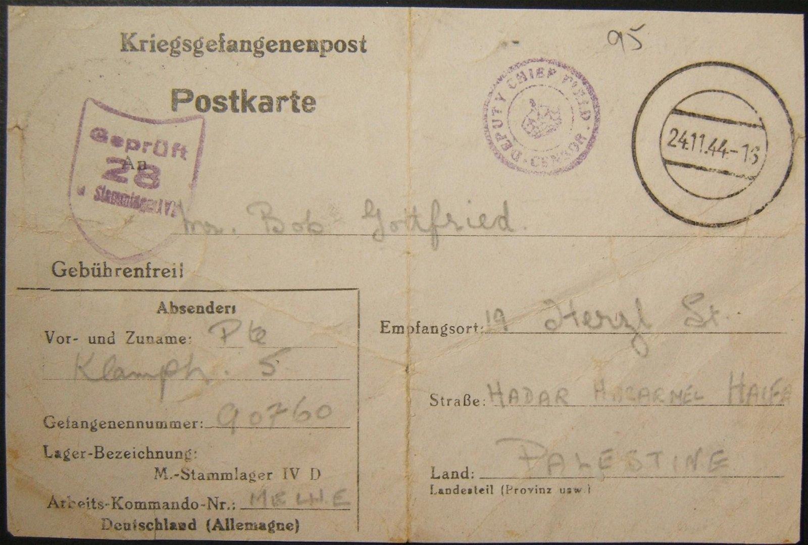 11/1944 WWII/Holocaust-era Jewish POW mail from Germany