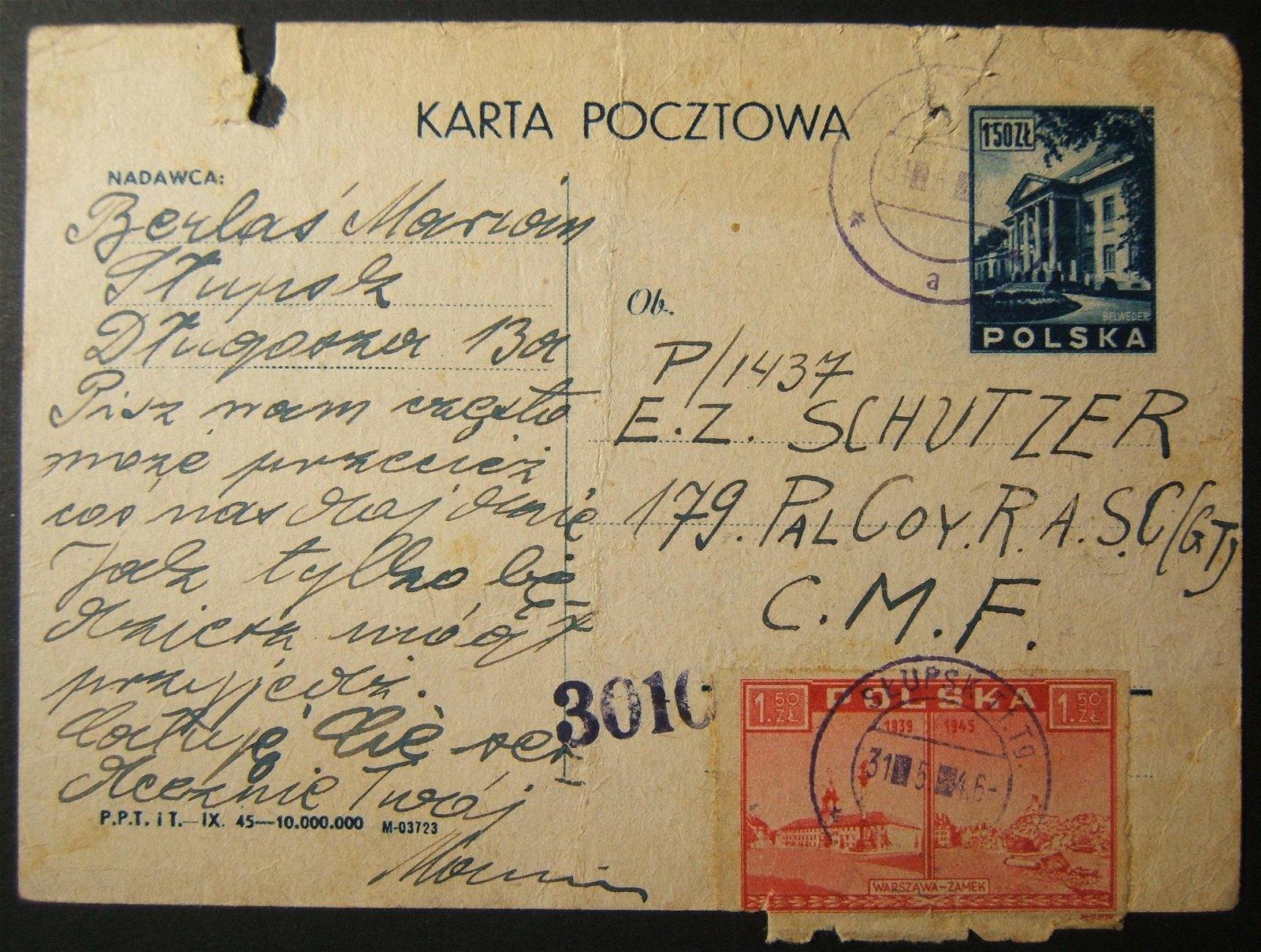 5/1946 postwar WWII mail from Poland to Jewish soldier
