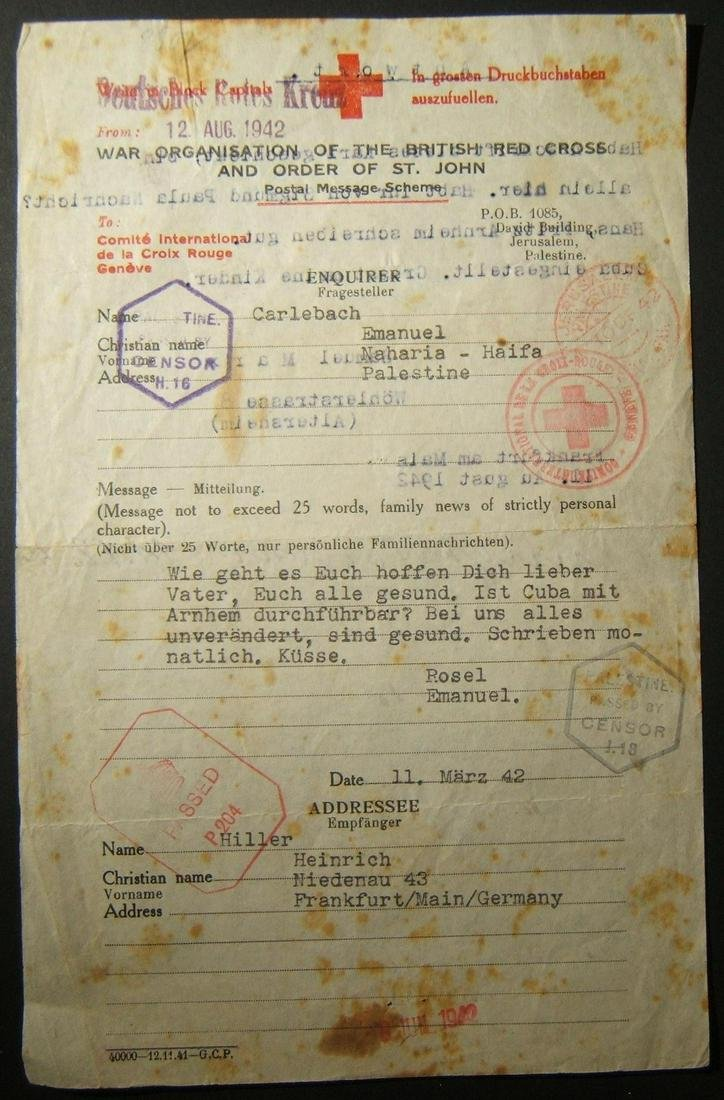 3/1942 2-way Holocaust Red Cross correspondence ex
