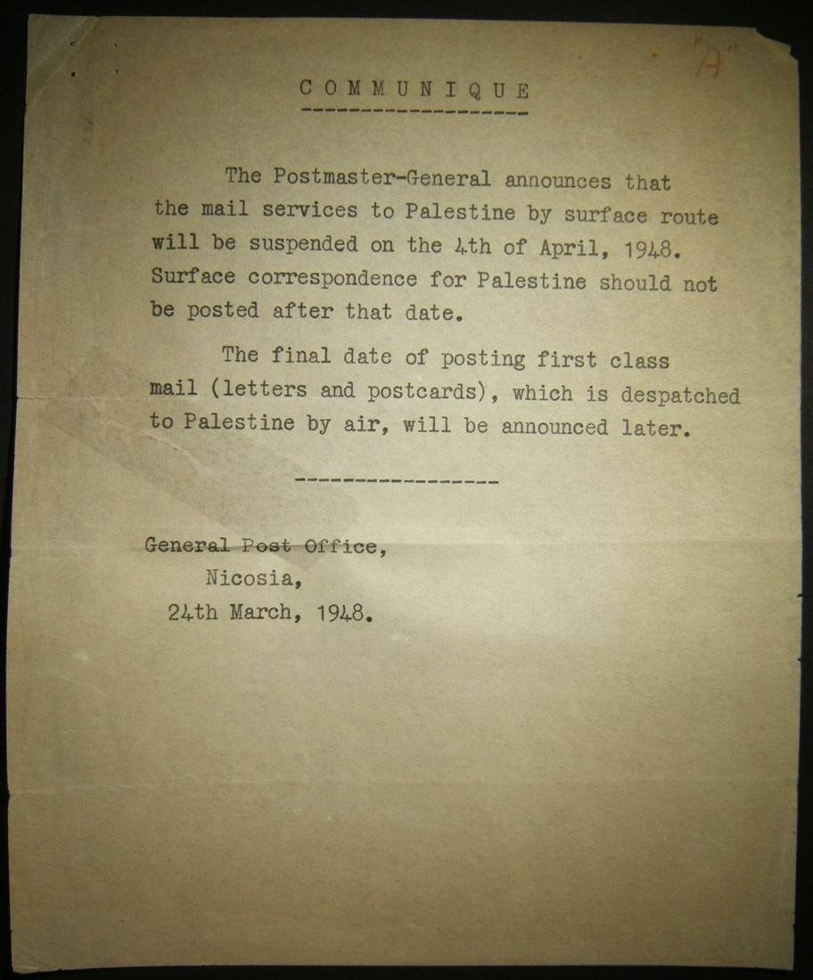 Mar 1948 Post Office notice about surface mail service