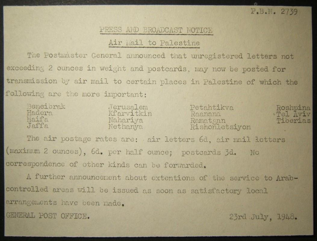 July 1948 Post Office notice about resumption of air