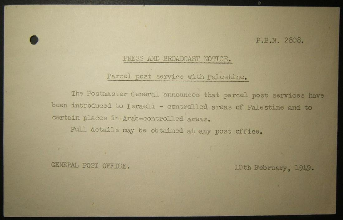 Feb 1949 PO notice about resumption parcel post to