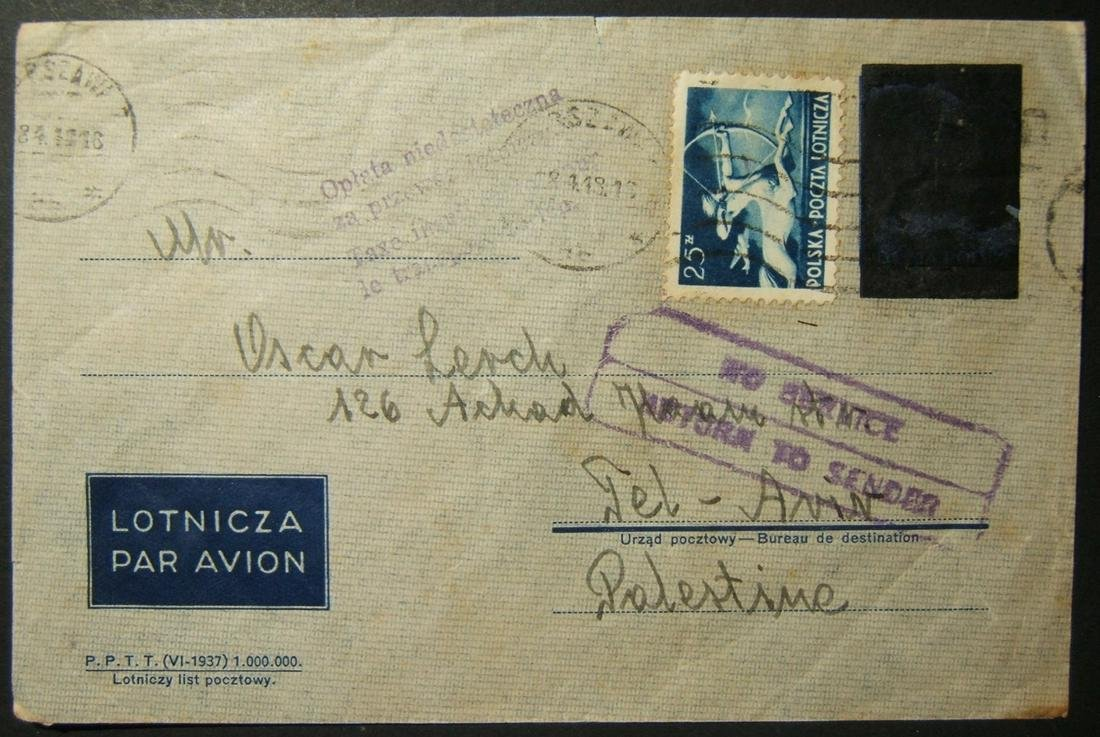 4/1948 Polish airmail to TEL AVIV affected by British