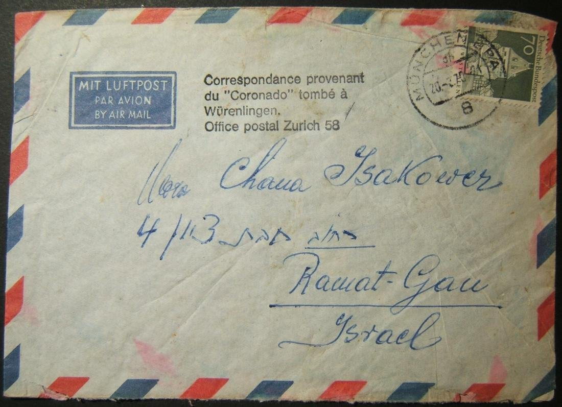 1970 German airmail to Israel recovered from Coronado