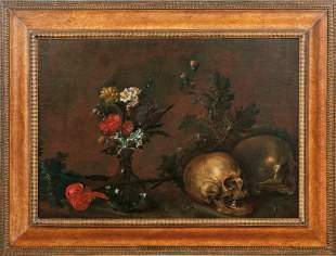 Vanitas-Stillleben mit Totenschädeln und Blumen —