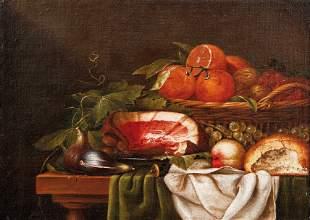 Stillleben mit Schinken, Brot und Früchten —