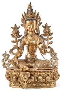 Elegante Figur der Grünen Tara — Tibet, 19. Jh.