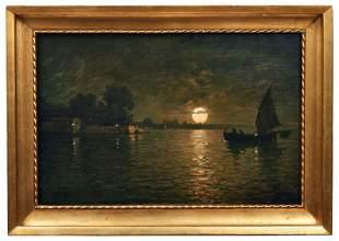 Fragiacomo, Pietro: Fischerboot in der Lagune im Licht