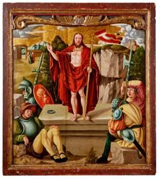 Gotisches Tafelbild mit der Auferstehung Jesu Christi,
