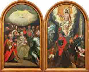 Pendants mit Auferstehung Christi und Pfingstwunder,