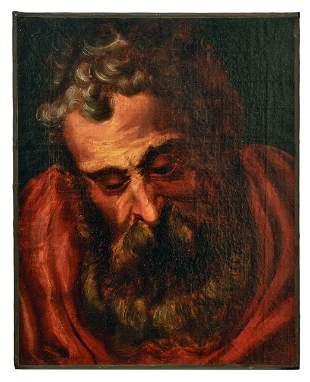 Kopfstudie eines baertigen Mannes, wohl ein Apostel,