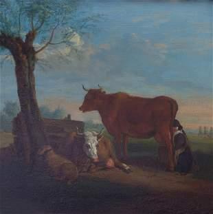 Landschaft mit Melkerin, Frühes 18. Jh.