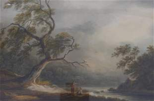 Flusslandschaft mit ruhenden Wanderern, Englische