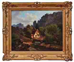 Wassermühle in einem idyllischen Tal, Landschaftsmaler
