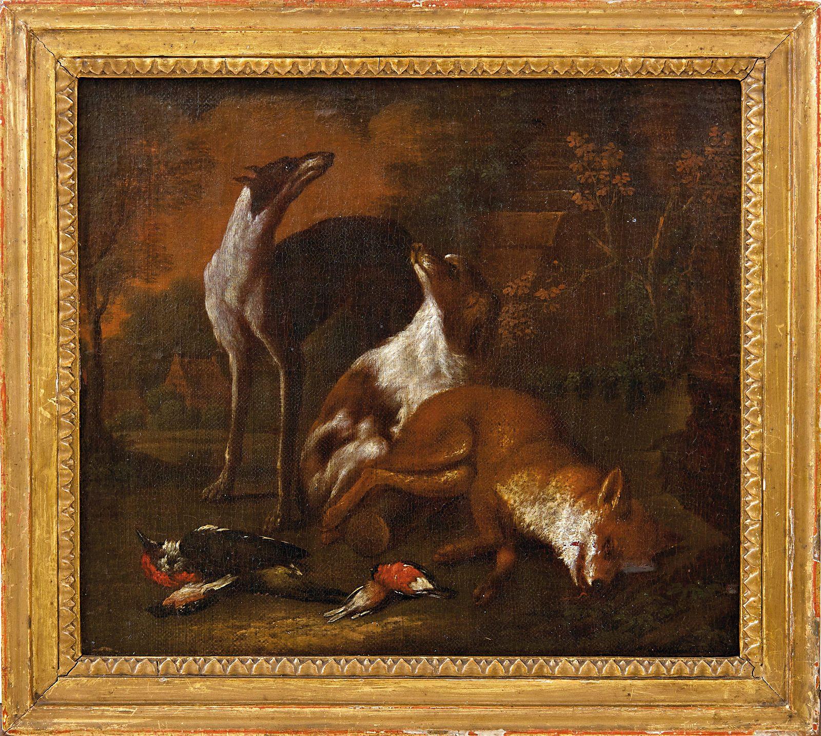 Gryeff, Adriaen de (Attrib.): Zwei Jagdhunde mit