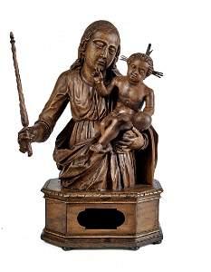 Madonna mit Kind auf Reliquiensockel, Alpenlaendisch