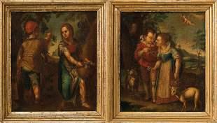 Pendants mit Jahreszeiten-Allegorien, Meister des 18.